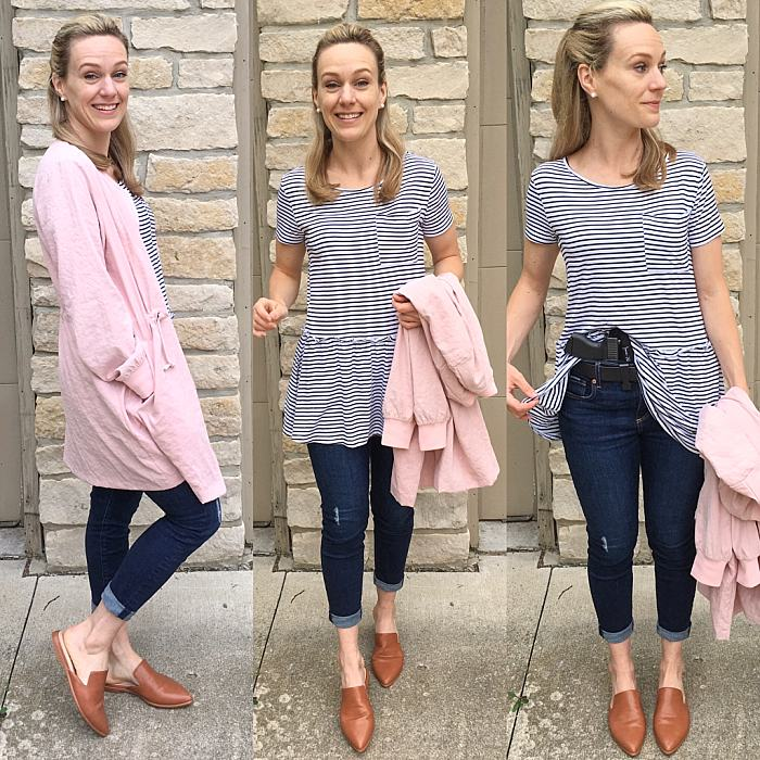 Striped Peplum . pointy toed slides .  Long Pink Bomber Jacket . Concealed Carry Outfit_0371.jpg