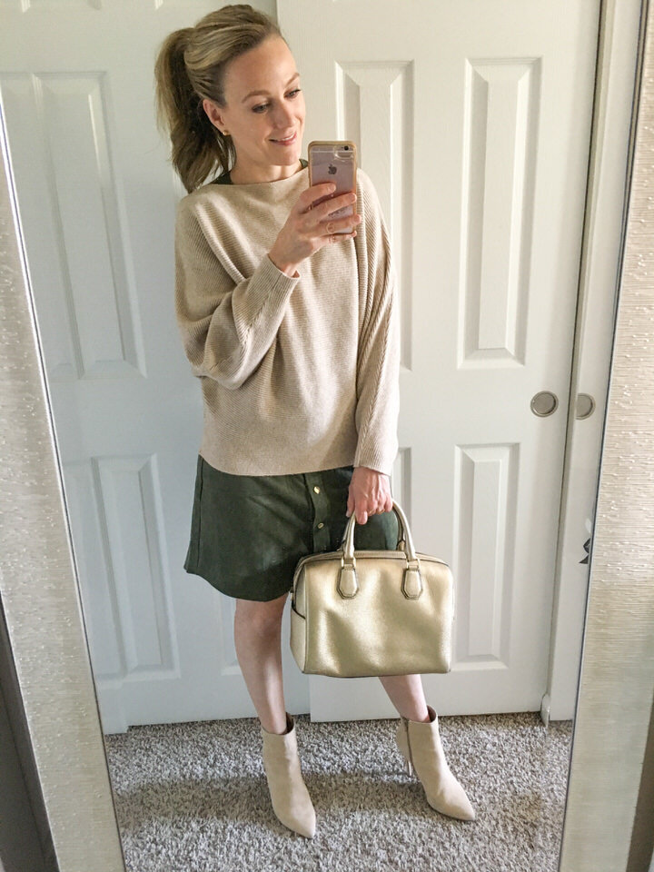 Batwing Sweater   (more colors available) | Booties (  Similar  ) (  Similar  ) (  Similar  ) | Purse is old, made by Michael Kors