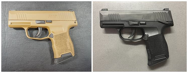 Left: Sig P365 without manual safety | Right: Sig P365 with manual safety