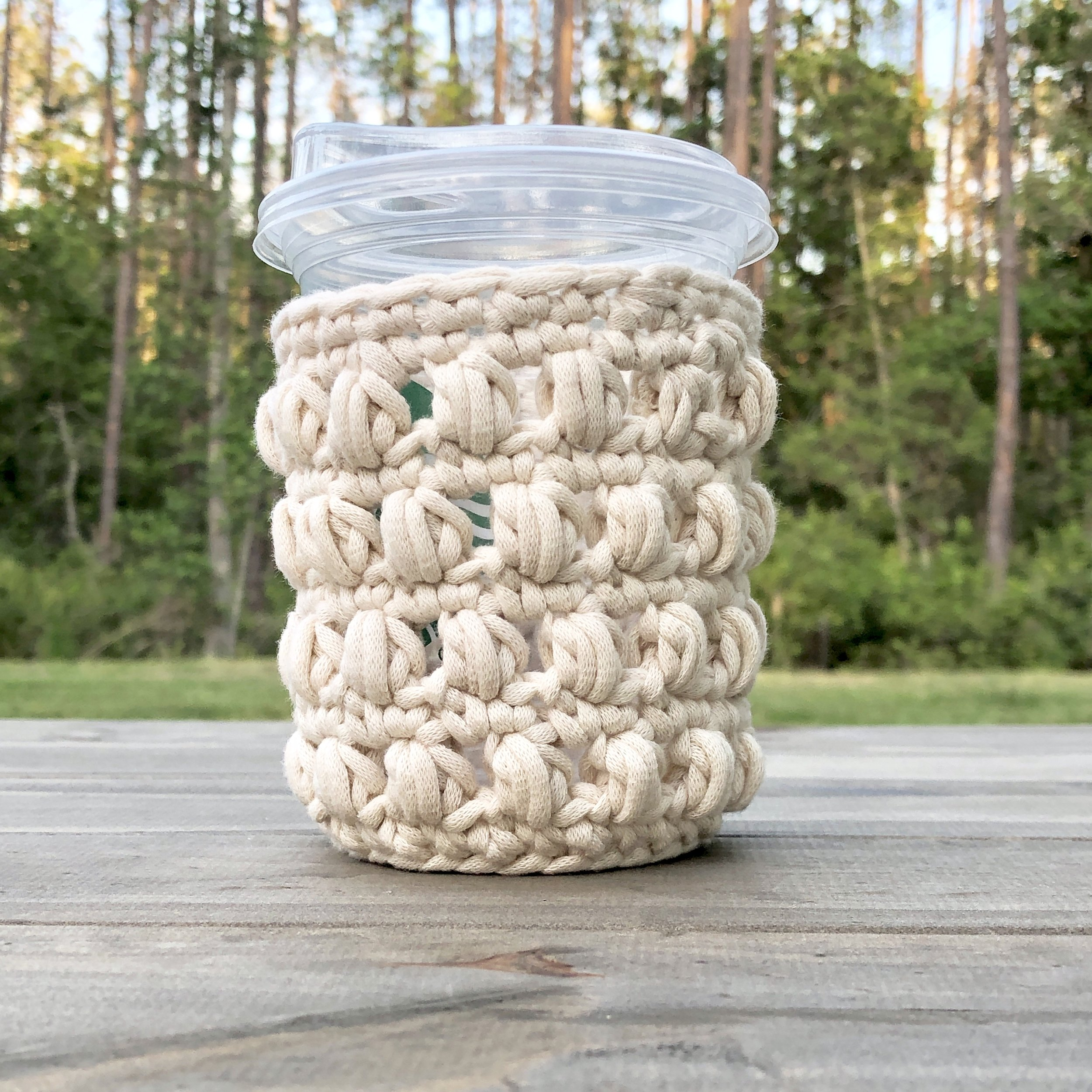 White Bluffs Tall Small Iced Coffee Cozy - Crochet Pattern - The Roving Nomad