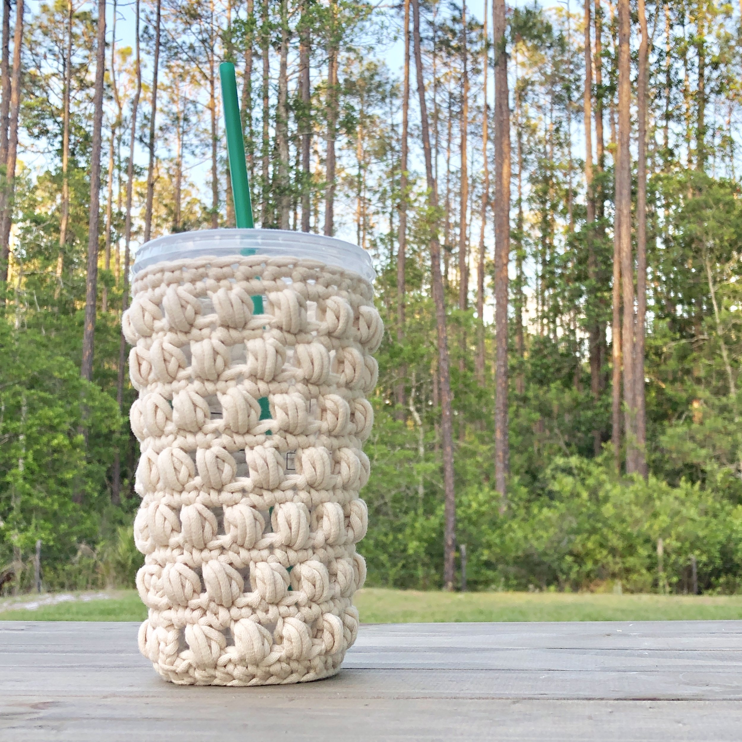 White Bluffs Large Venti Iced Coffee Cozy - Crochet Pattern - The Roving Nomad