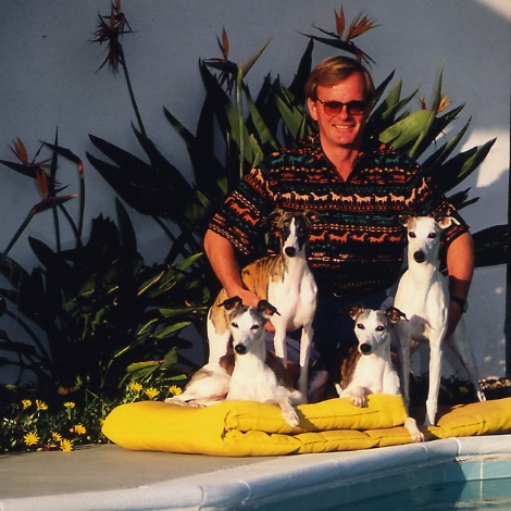 By the pool in Santa Barbara, mid-1990s, with  Ch. Whippoorwill Bohem Ari a and  Ch. Bohem Of Thee I Sing  (lying down),the 10-months-old (later Aust. Ch.)  Bohem Critic's Choice  and  Ch. Bohem La Boheme  (standing).