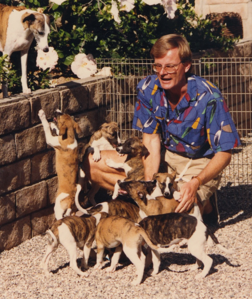 Bo in 1988 with Aria and her second litter, five of which grew up to become champions, several of whom also had lure coursing titles.