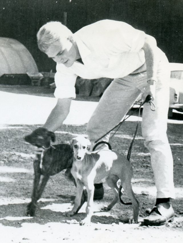 Bo with Greyhound puppies  Guld  (right) and her sister  Sekin , 1966.