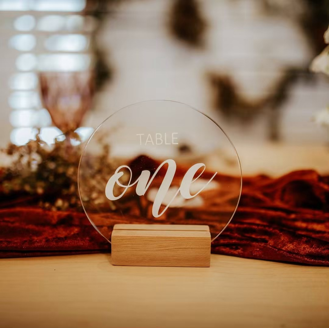 Round Acrylic Table Numbers - Simple yet beautiful. A Love Club classic which you can match with your own customised signage