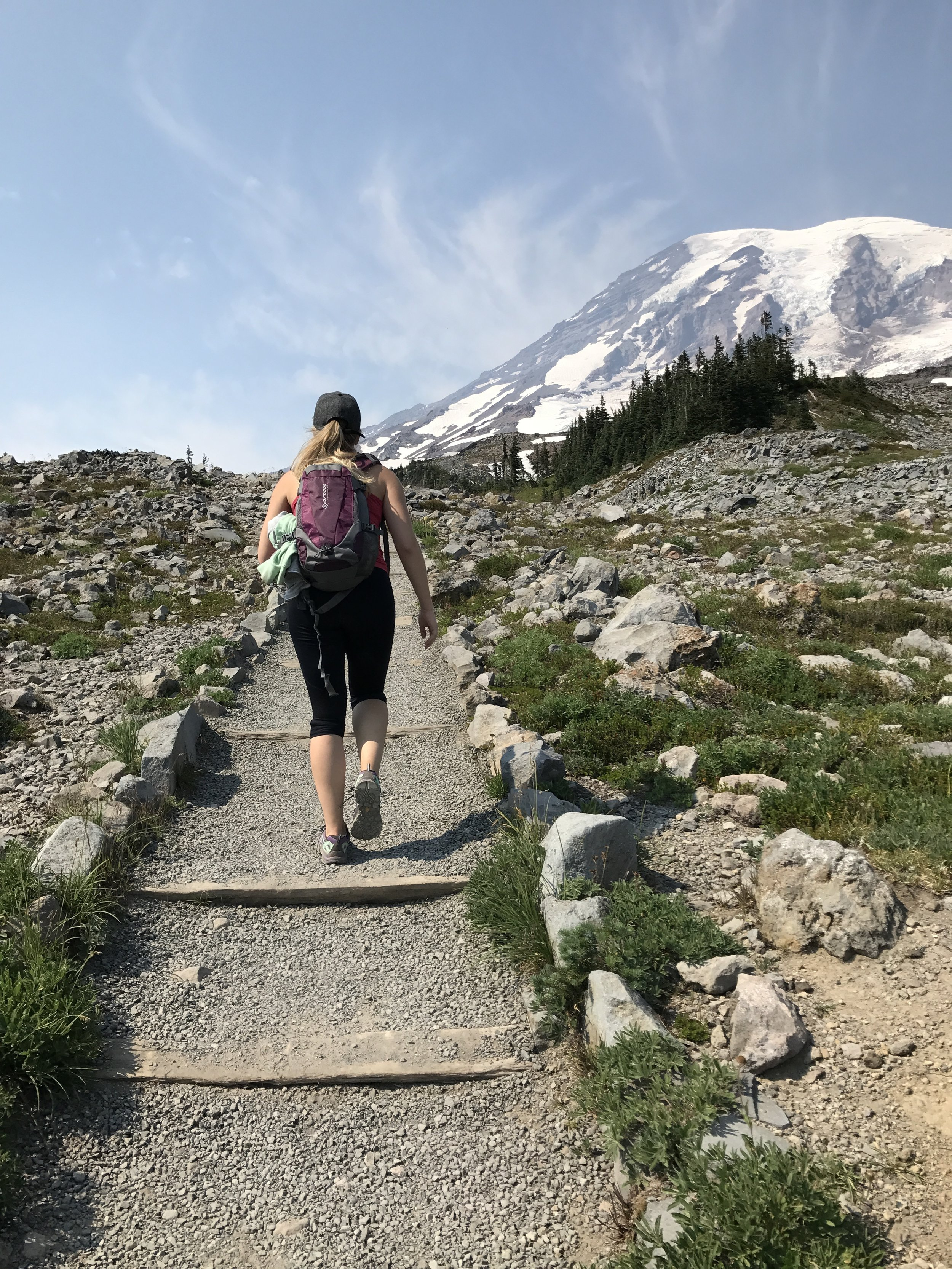 Why I thought I needed a hoodie on this hike at Mt. Rainier when it was 80 degrees is beyond me!