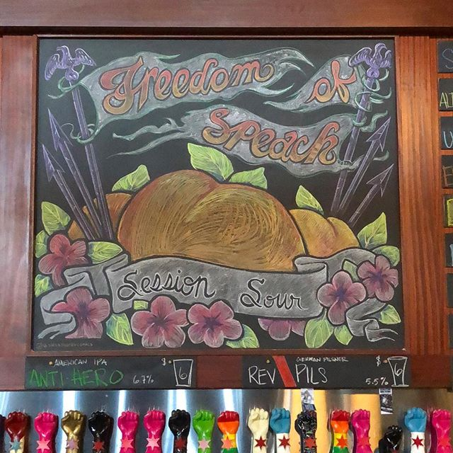 Suns out buns out ✨🍑🍻 Fresh chalk today for @revbrewchicago 🦅 . . . . #chicagobeer #chicagoartist #chalkboardart #brewerychalkboard #brewery #beer #peaches #chalkart