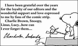 The final Peanuts strip, which ran Febraury 12, 2000.