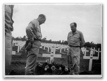 Two Army sergeants at Duncan's gravesite at Anzio, August 1944.