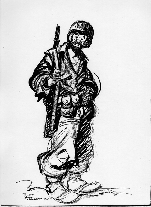 Bill Mauldin gave this large original drawing of Joe to Janice Duncan shortly before she left the Mediterranean Theater for home (click to enlarge).