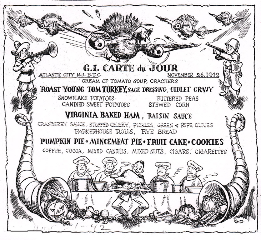 A Thanksgiving menu featuring Duncan artwork (click to enlarge)
