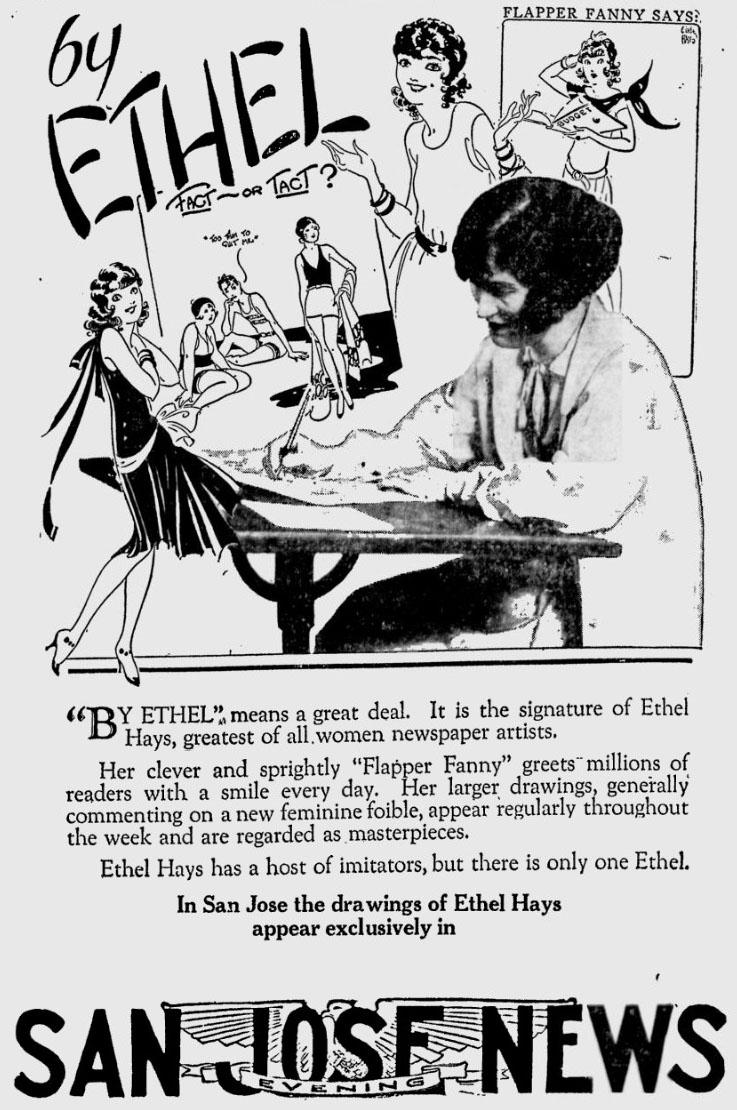 A February 1929 newspaper ad promoting Hays' cartooning.