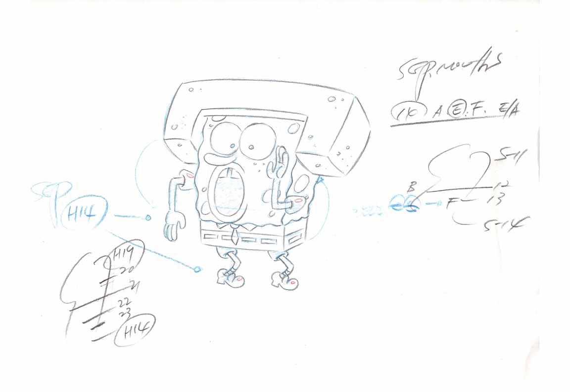 A SpongeBob layout sheet.