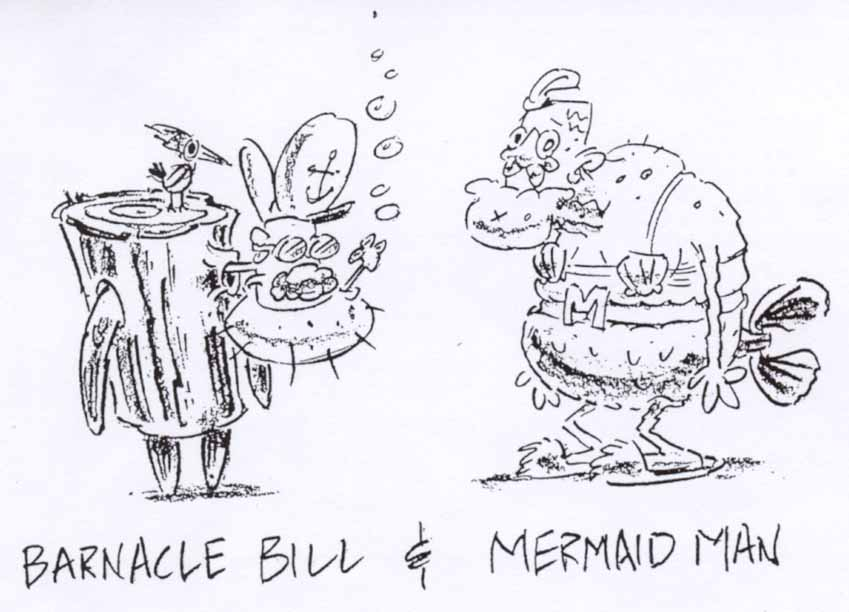 From Steve Hillenburg's bible for the series, his initial depiction of what became the recurring Barnacle Boy and Mermaidman.