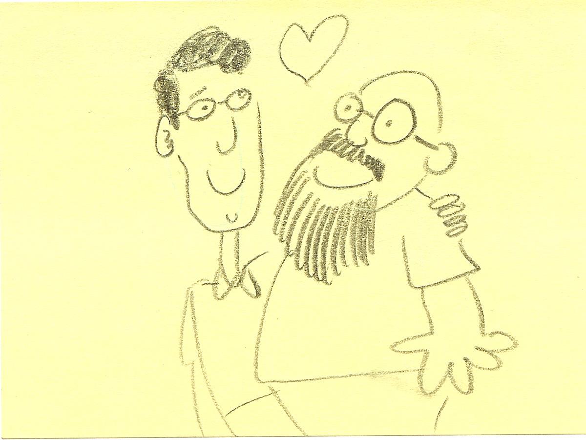 Sketch by SpongeBob writer and storyboard artist Sam Henderson of Jay Lender (left) and Sherm Cohen.