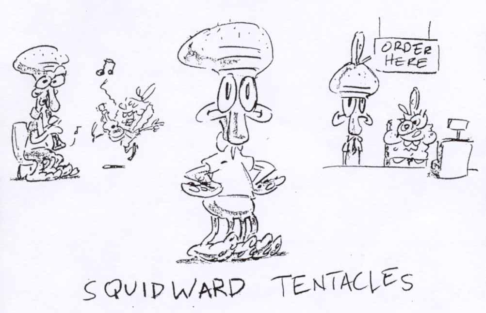 Depictions of SpongeBob's reluctant coworker, Squidward, from Steve Hillenburg's series bible.