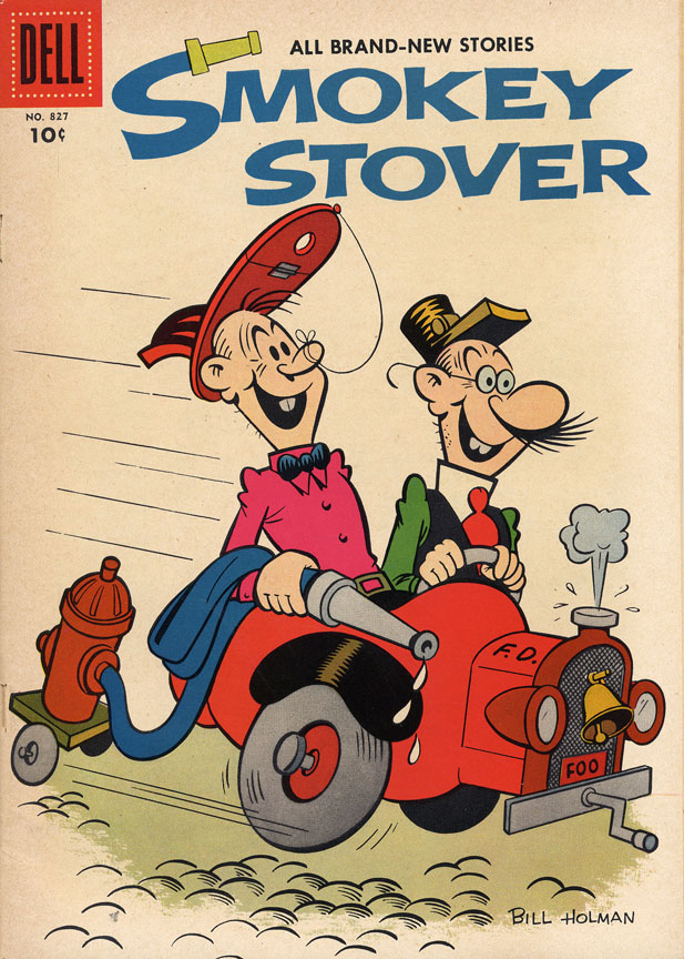 Eisman's cover art for Dell Four Color #827, featuring Smokey Stover. Eisman did pencils and inks on every page (click to enlarge).