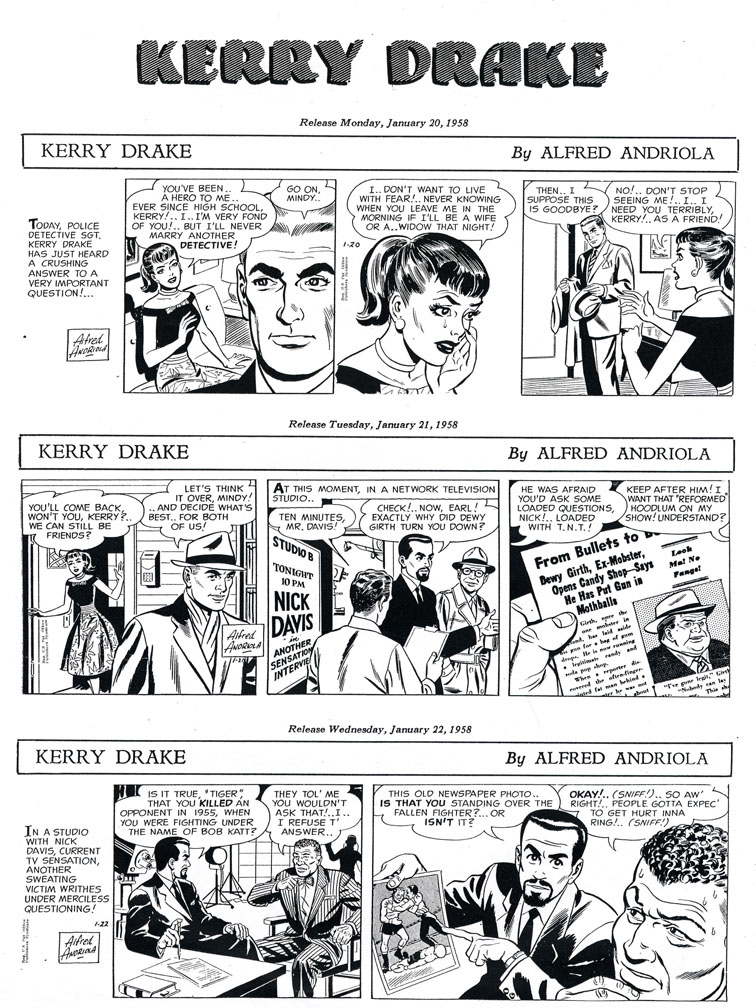 More examples of Eisman's ghosting for Alfred Andriola on Kerry Drake (click to enlarge).
