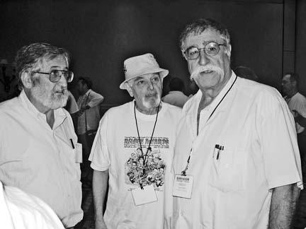 Cartoonists Jose Delbo, Eisner and Sergio Aragones (l-r).