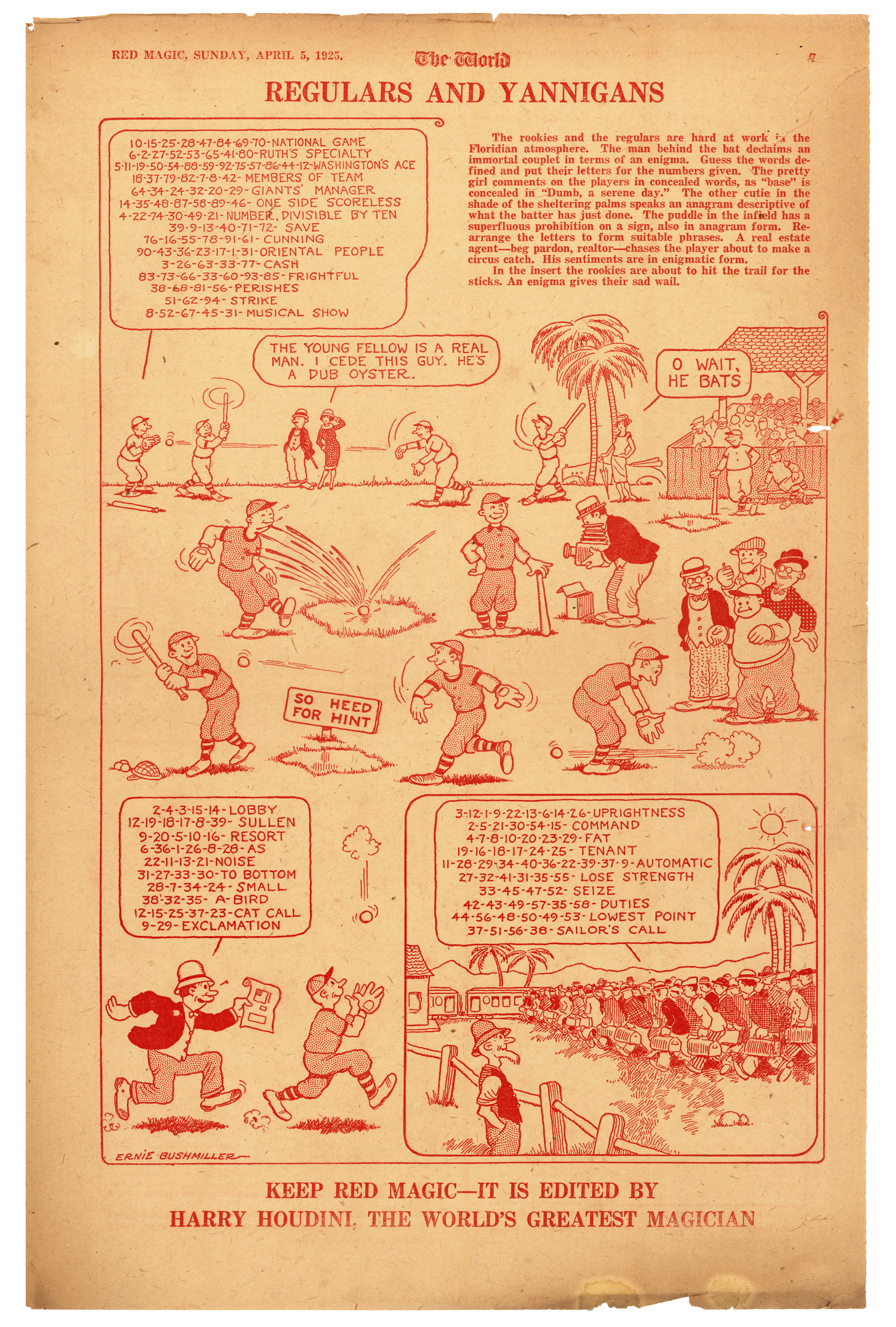 A 1925 page featuring pre-Nancy art by Bushmiller (click to enlarge).