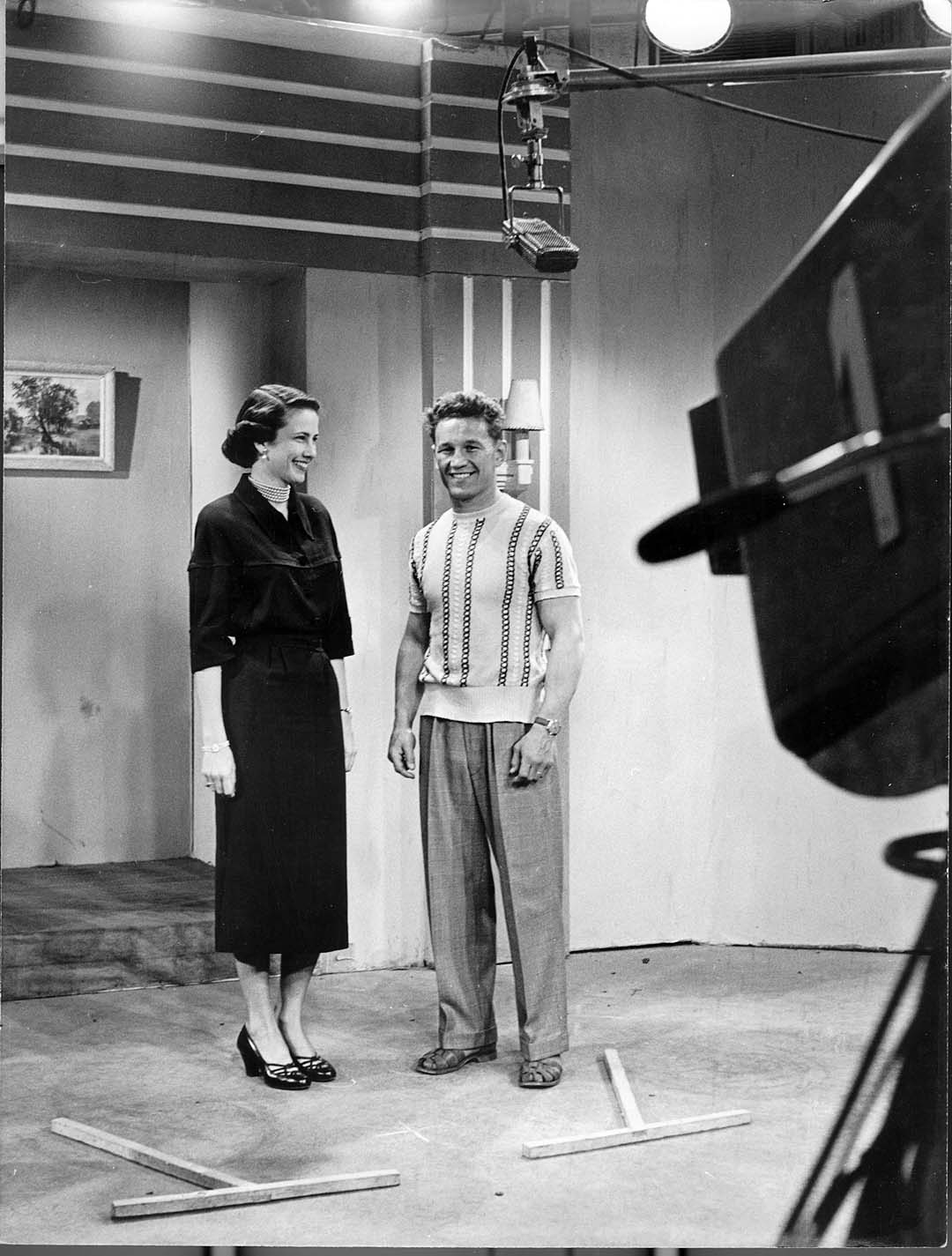 Pankey and Jacques Angelvin on the set of a French TV broadcast