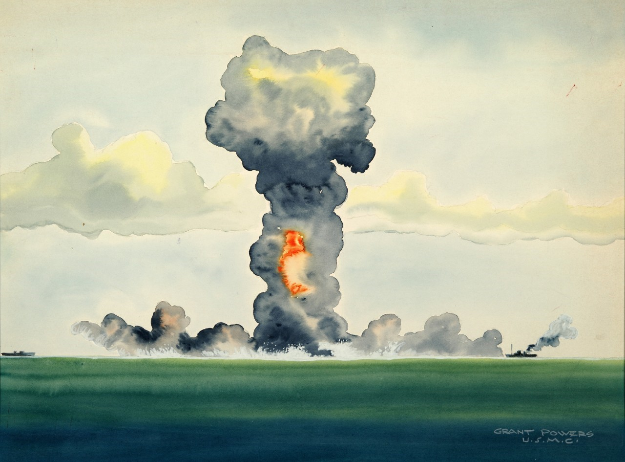 A painting by Grant Powers of an atomic detonation in the Bikini Atoll, 1946.