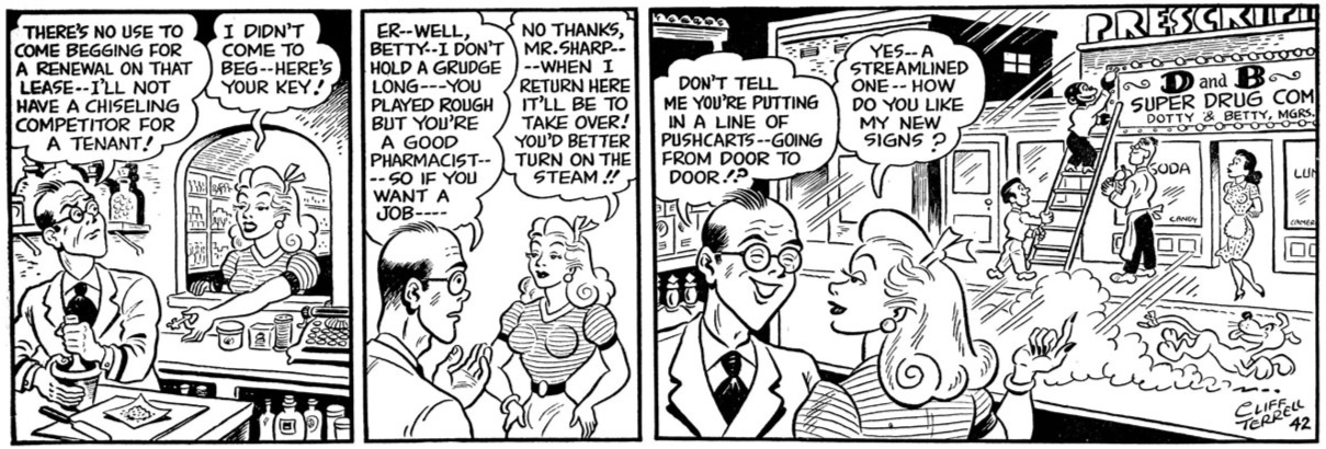 The final Betty Brown strip, from March 15, 1948, concluding her amazing 14-year journey.