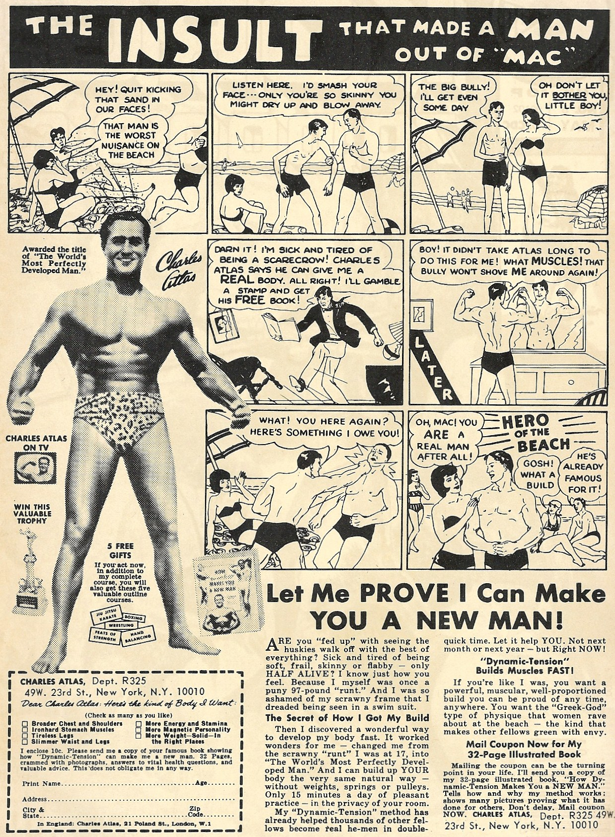Perhaps the most iconic Charles Atlas ad of them all (click to enlarge).