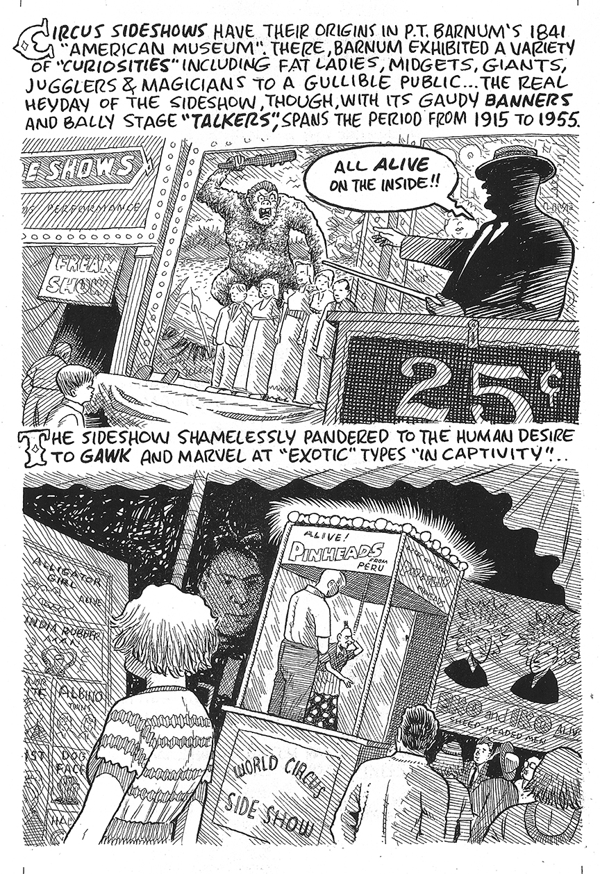 An unused page from  Nobody's Fool  discussing the development of sideshow entertainment (click to enlarge).