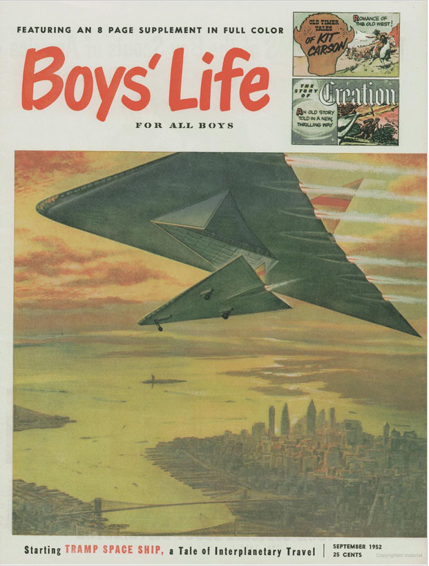 Boys' Life, September 1952, announcing a new color comics section.