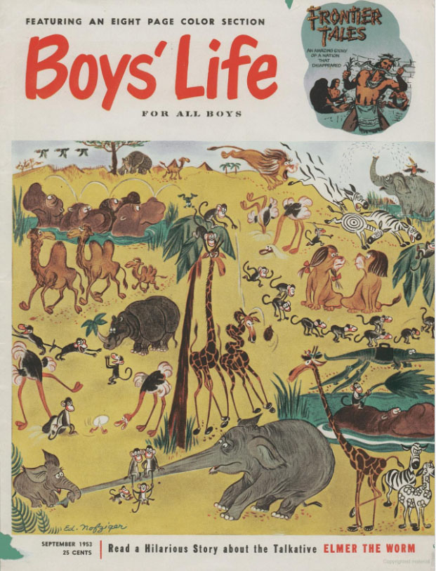 The September 1953 issue of Boys' Life (cover by Ed Nofziger). The Tracy Twins would make their debut in next month's issue.