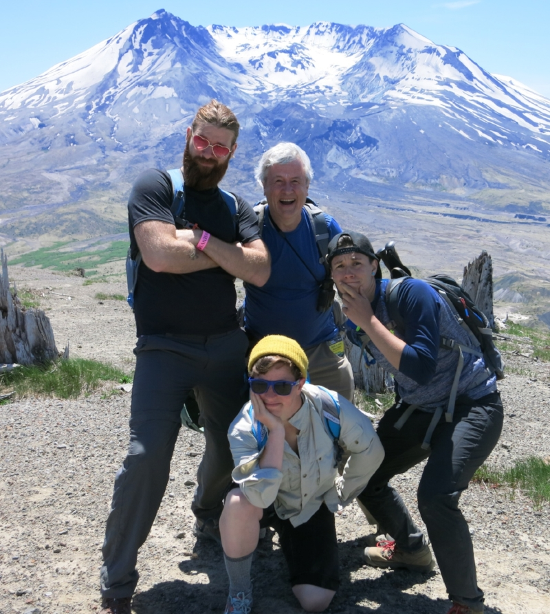 2018 teen backpacking leaders Anthony, Jim, H and Arielle in front, Mt. St. Helens in back