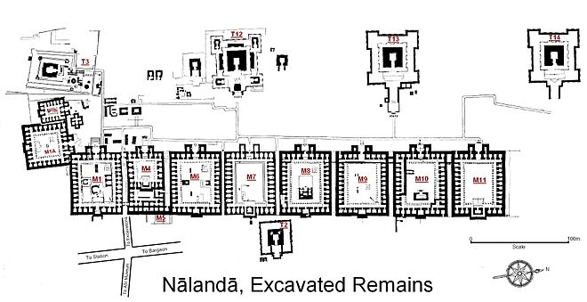 Here is an image of the excavated site of Nalanda