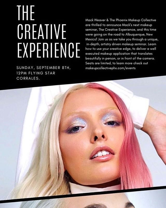 Wanting more advanced education from a dope af artist? Look no further! @mackweaver_ is hosting a class September 8th at @flyingstarcafe Corrales. Mack is an incredibly talented MUA and a former student of @thevanitymakeup ❤️💕⭐️ Don't miss it. Head over to @makeupcollectivephx for tix 💕⭐️