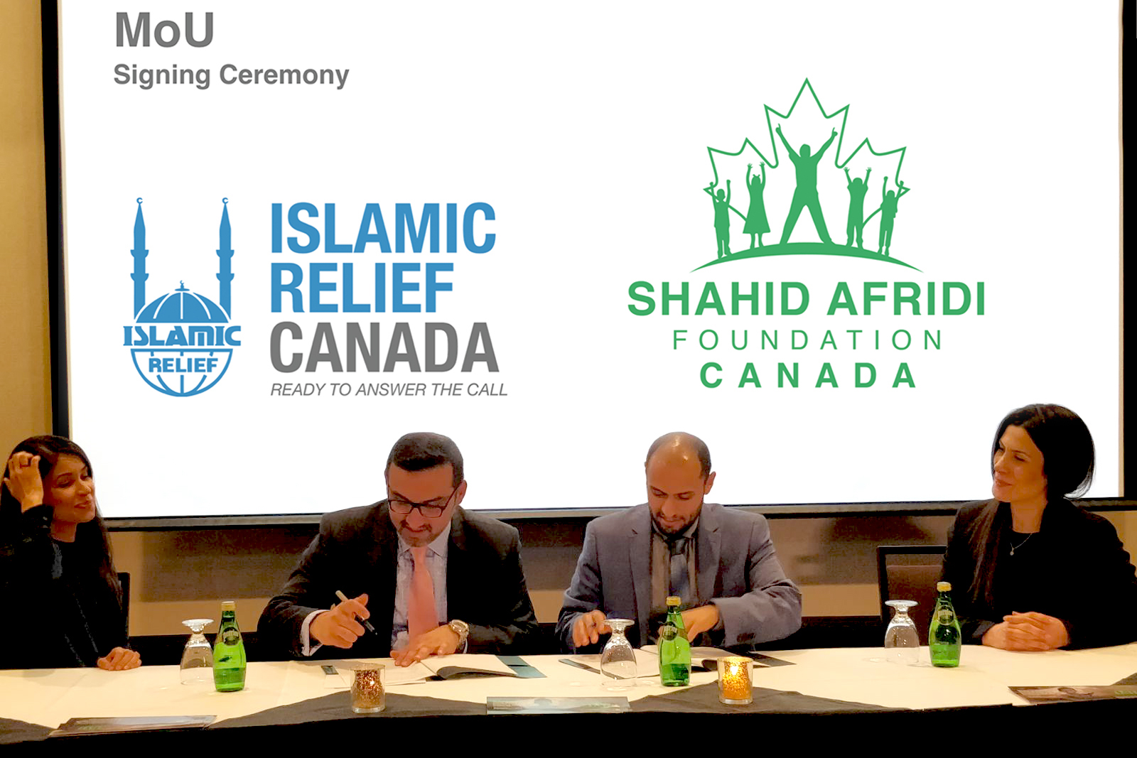 From Left to Right: Fariha Khan,  Member of Board of Directors, Islamic Relief Canada; Faisal Yousuf,  President, Shahid Afridi Foundation Canada;  Zaid Al-Rawni,  CEO, Islamic Relief Canada;  Filiz Ozmisir,  Executive Vice President, Shahid Afridi Foundation Canada