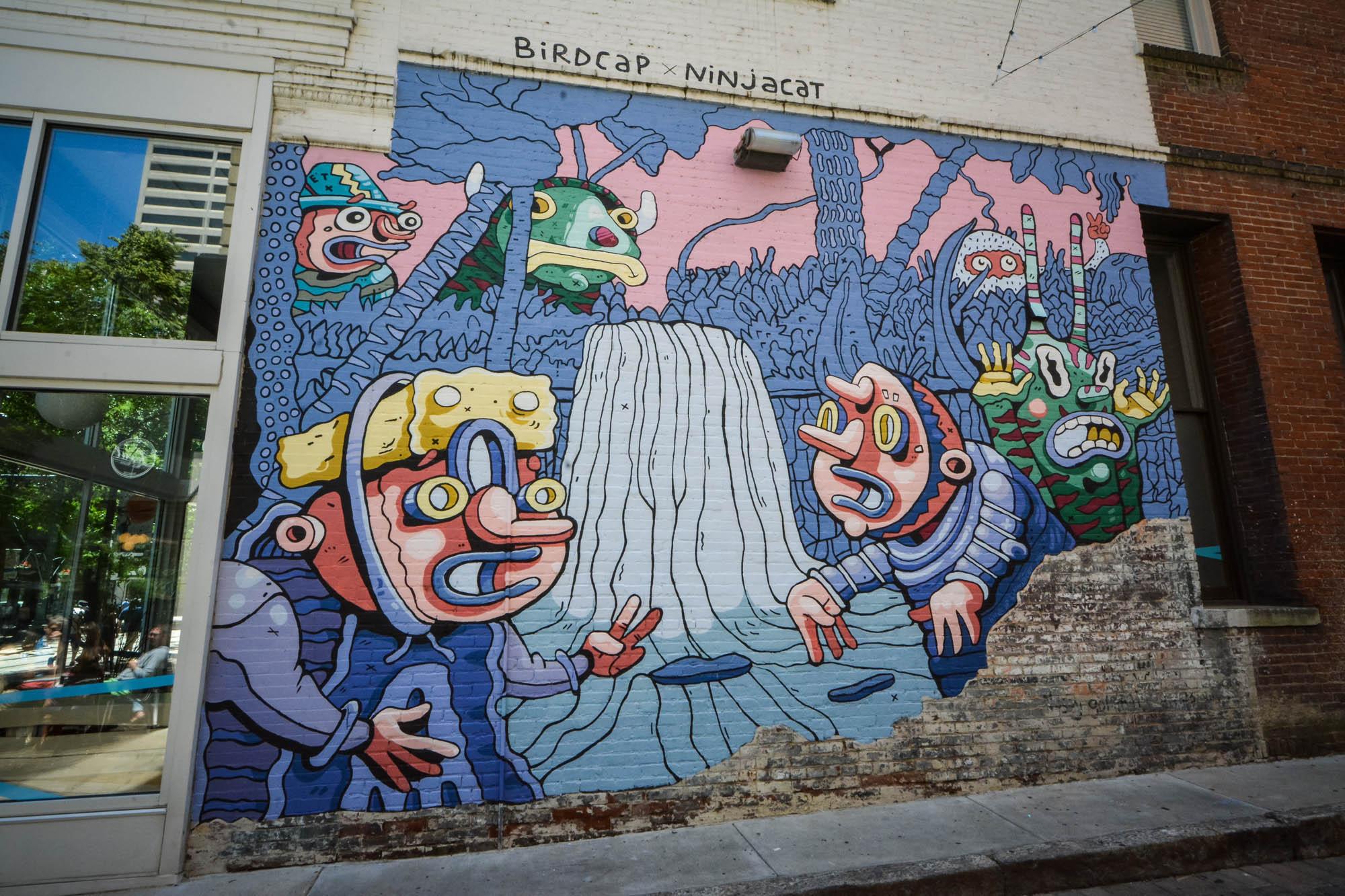 Light Mural by Birdcap and Ninjacat in downtown Memphis, TN