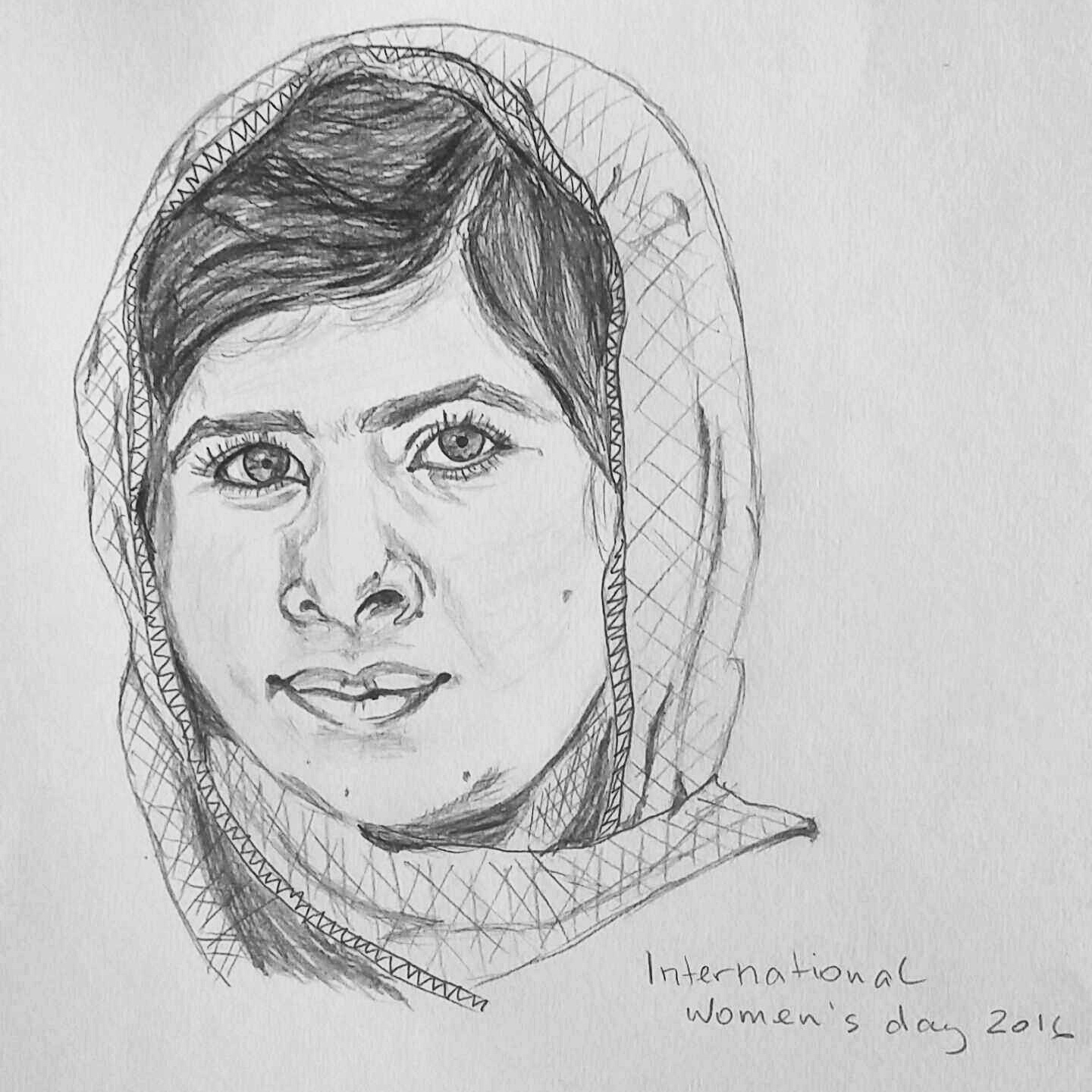 Sketch of Malala Yousafzai — she is so very inspiring that I wanted to sketch her