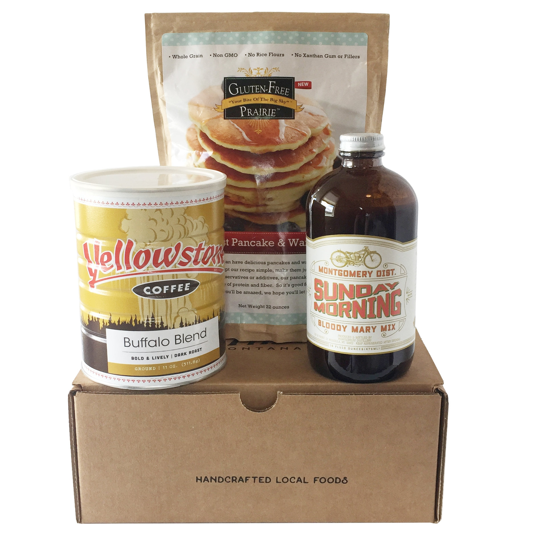The Montana Brunch in a Box features Yellowstone Coffee Roasters coffee, Montgomery Distillery Bloody Mary Mix, and Gluten Free Prairie Pancake and Waffle Mix.