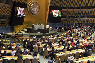 "General view of the opening of the seventeenth session of the United Nations Permanent Forum on Indigenous Issues. This year's forum centres on the theme: ""Indigenous peoples' collective rights to lands, territories and resources""."