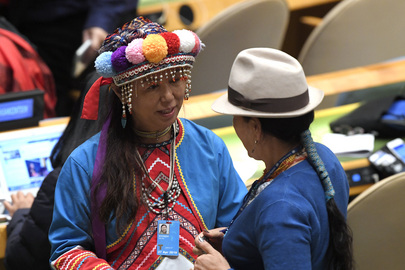 Participants of the seventeenth session of the United Nations Permanent Forum on Indigenous Issues speak at the opening.