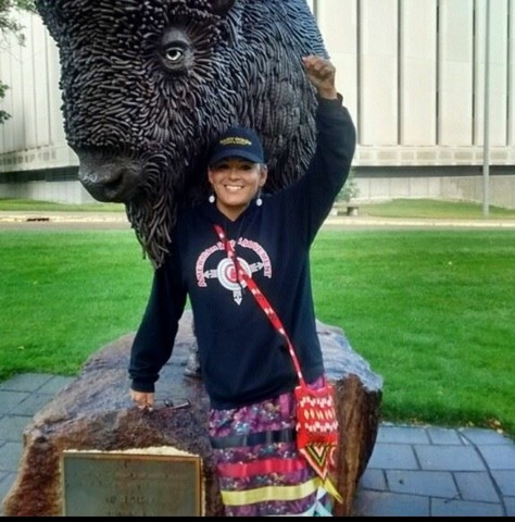 Red Fawn wearing Water Protector skirt at a rally at North Dakota State Capitol in Bismarck, 2016.