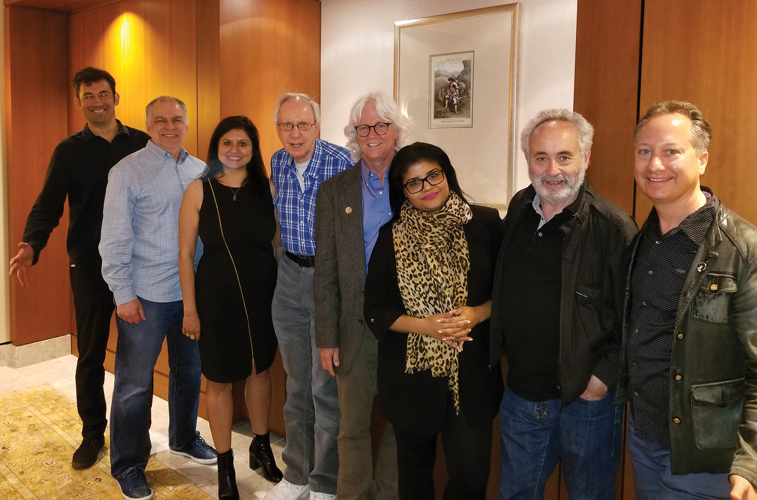 From left: IMMF's Jake Beaumont-Nesbitt, MMF-US board member Jerry Lembo, MMF-US membership and fundraising representative Neeta Ragoowansi, MMF-US founder/president Bergman and MMF board members Garvan, Yaya Rey, Wolmark and Jack Bookbinder.