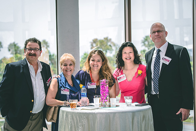 (Left to Right) Richard Chiera + Jannie Chiera + Athena Chiera, Athena Engineering, Inc. – SOTY 2018 Class II Awardee; Lindy Huang Werges, Integritas Resources, Inc. + Zen Yoga Strap, Inc., – SOTY 2018 Class I Awardee; Tom Werges, Slinger Straps, LLC. (Source: SCMSDC)