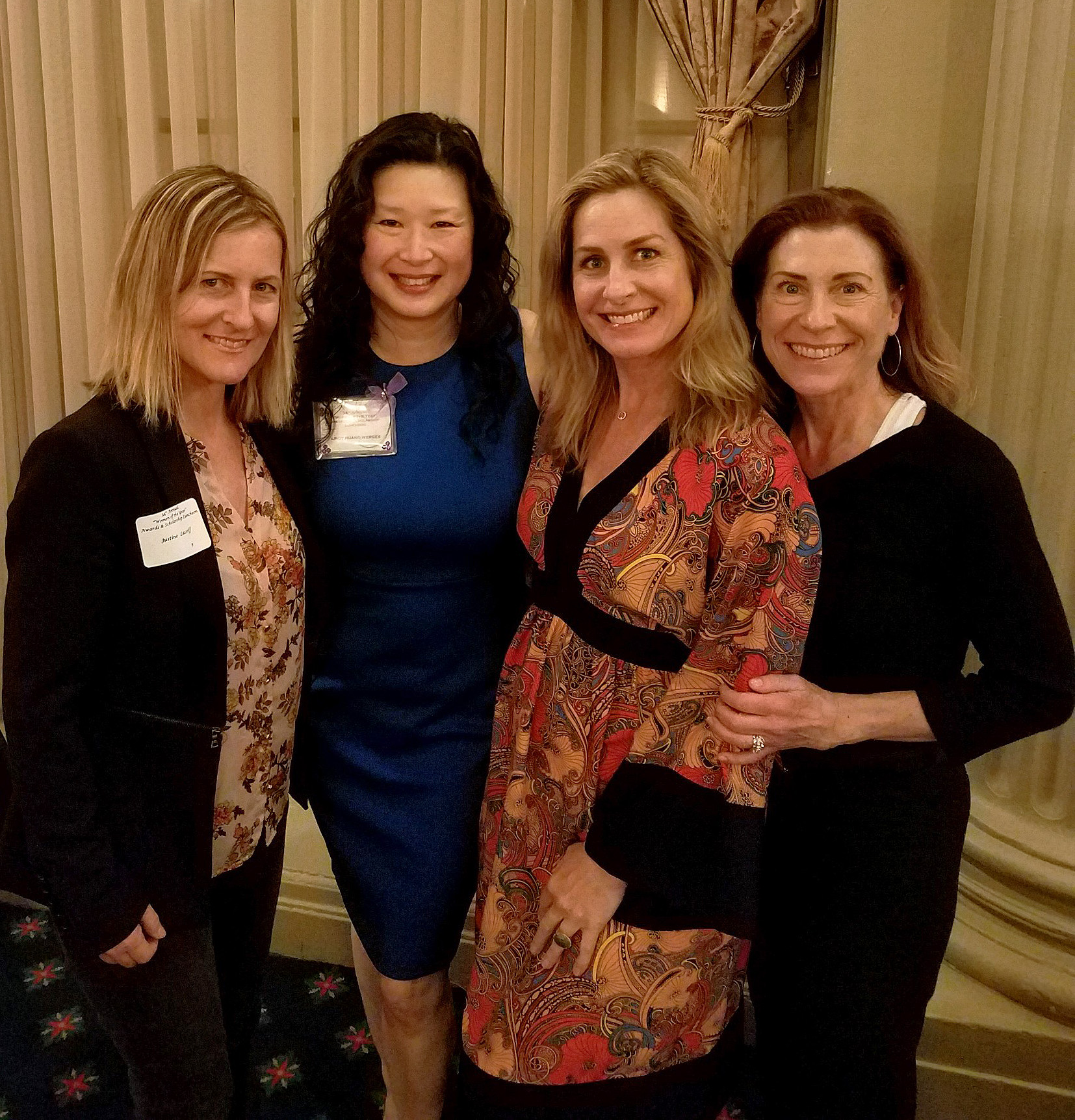 Justine Lassoff  (Co-Founder,  Love Goodly  +  TuesdayNights ); Lindy Huang Werges (Founder,  Integritas Resources  + Co-Founder,  Zen Yoga Strap ;  Melinda Moore  ( Assembled Brands  + Co-Founder,  TuesdayNights );  Diane Reichenberger  ( Mattel  + Co-Founder,  Women's Accelerator )