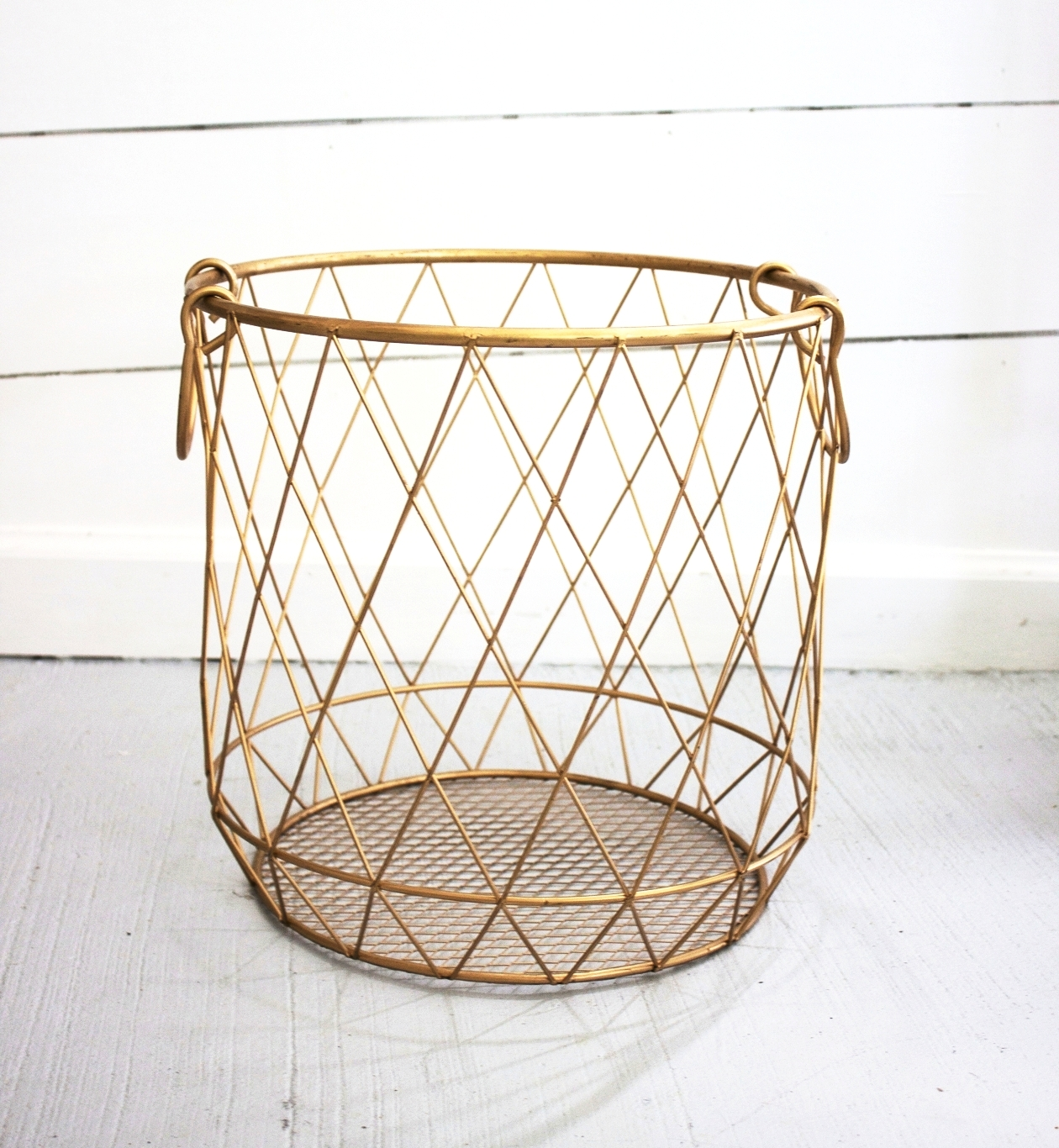 Picture of: Large Gold Wire Basket Lindsey Wise Designs