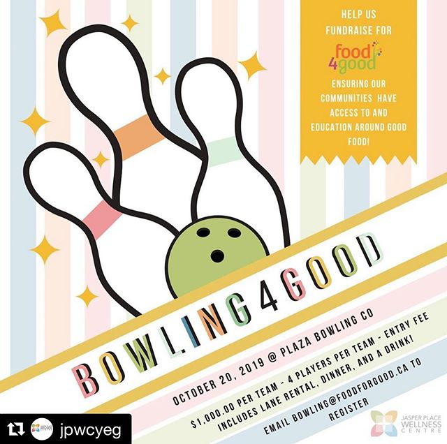 SUCH A GREAT EVENT!  #Repost @jpwcyeg with @get_repost ・・・ Help us create a food secure community by fundraising for @food_4_good - our approach to food security in #Edmonton. . . . Did you know @food_4_good hosts many community events with food as the focus? Community gardens, low-cost fruit and veggie markets, and collective kitchens focused on cooking on a budget! . . . Join the second annual Bowling4Good fundraiser! Become a team captain and register by emailing bowling@food4good.ca . . . Your team is responsible for raising $1,000.00 to be able to play! This can be done any way that you see fit. And don't forget dinner, a drink, lane rental and shoe rental are all included in your entry fee! . . . Have fun and support your community all at once! Questions? Contact Ashley: 780-906-4971 . . #yeg #yegevents #yegfood #edmontonfoodies #foodieedmonton #yegbowling #yegfundraiser #edmontonfundraiser #yegcommunity