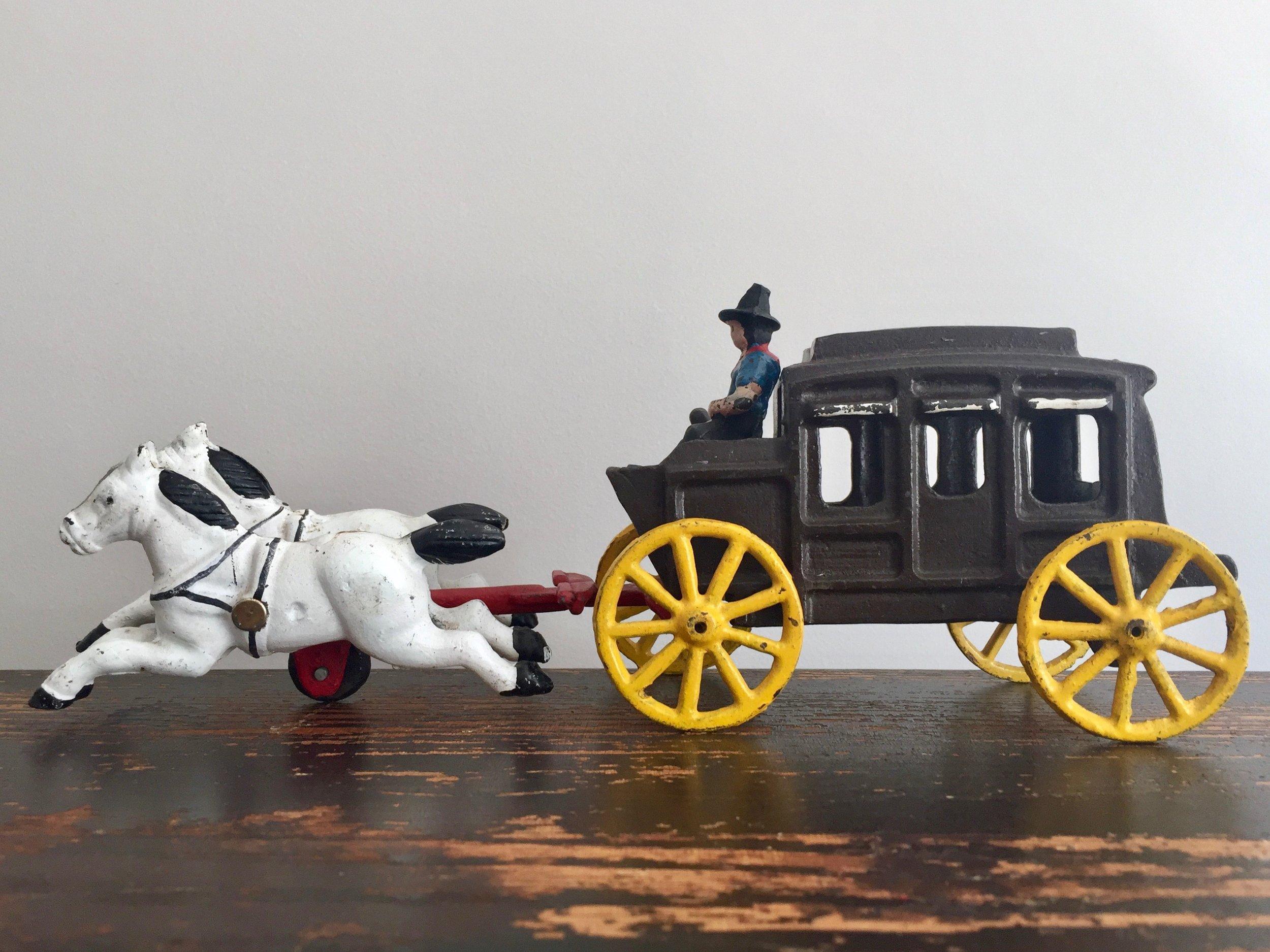 Cast Iron Cart & Horses