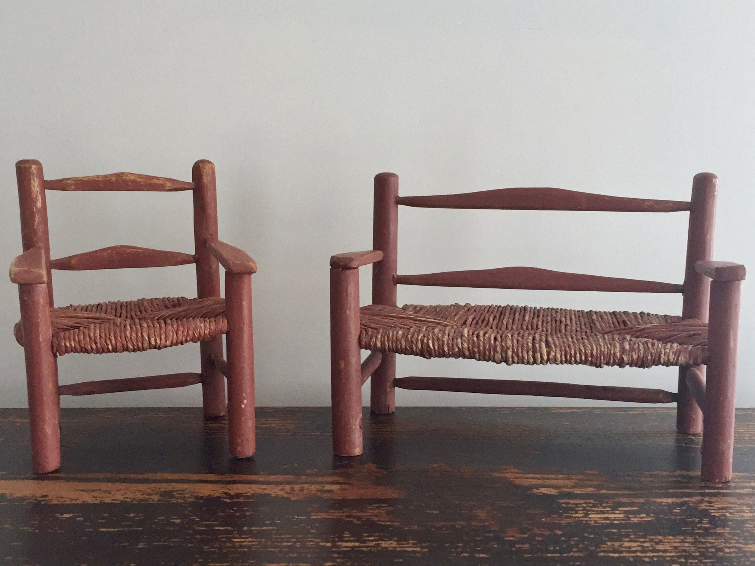 Doll Furniture Rush Chair & Bench