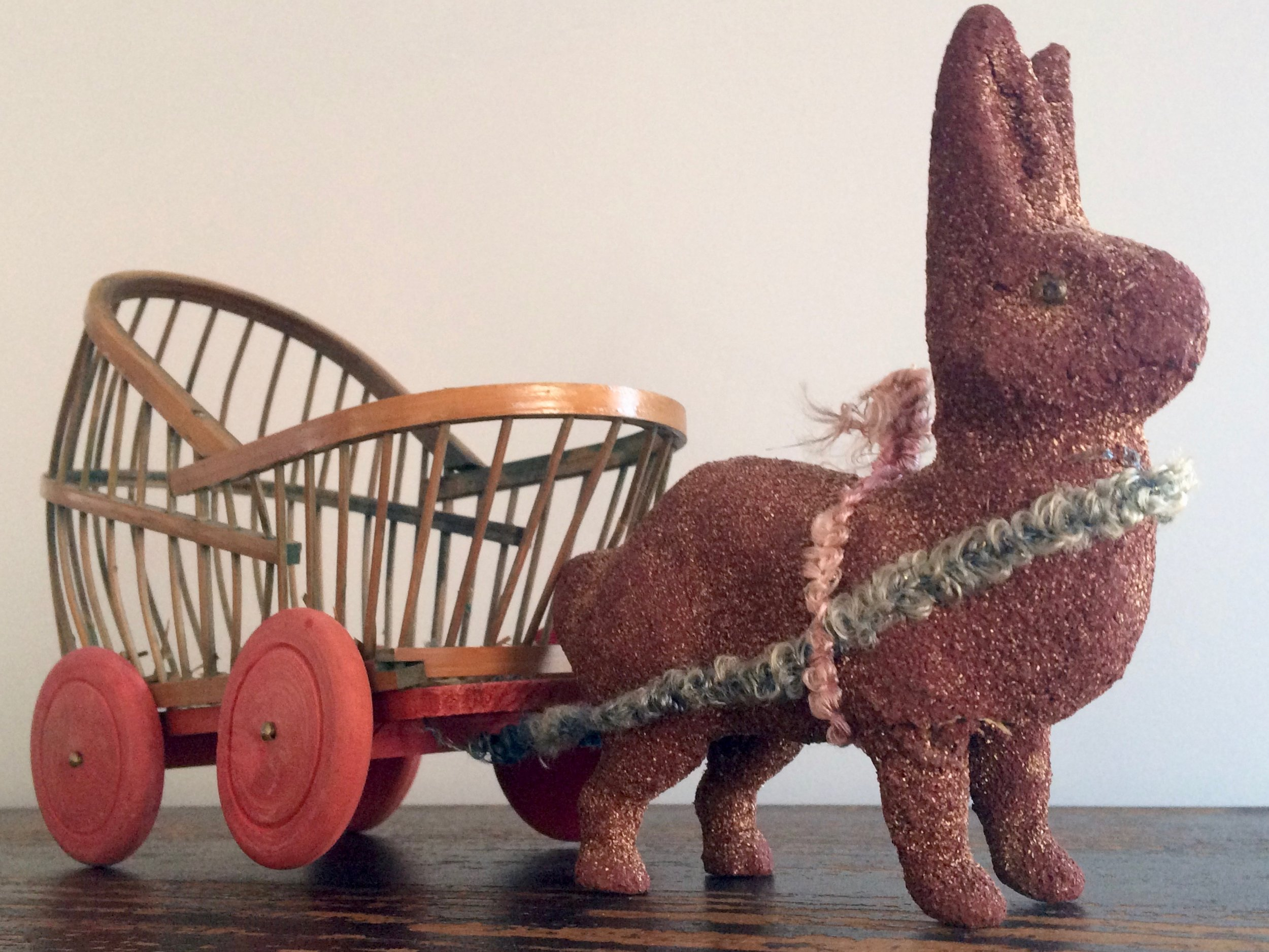 Flocked Rabbit with Cart