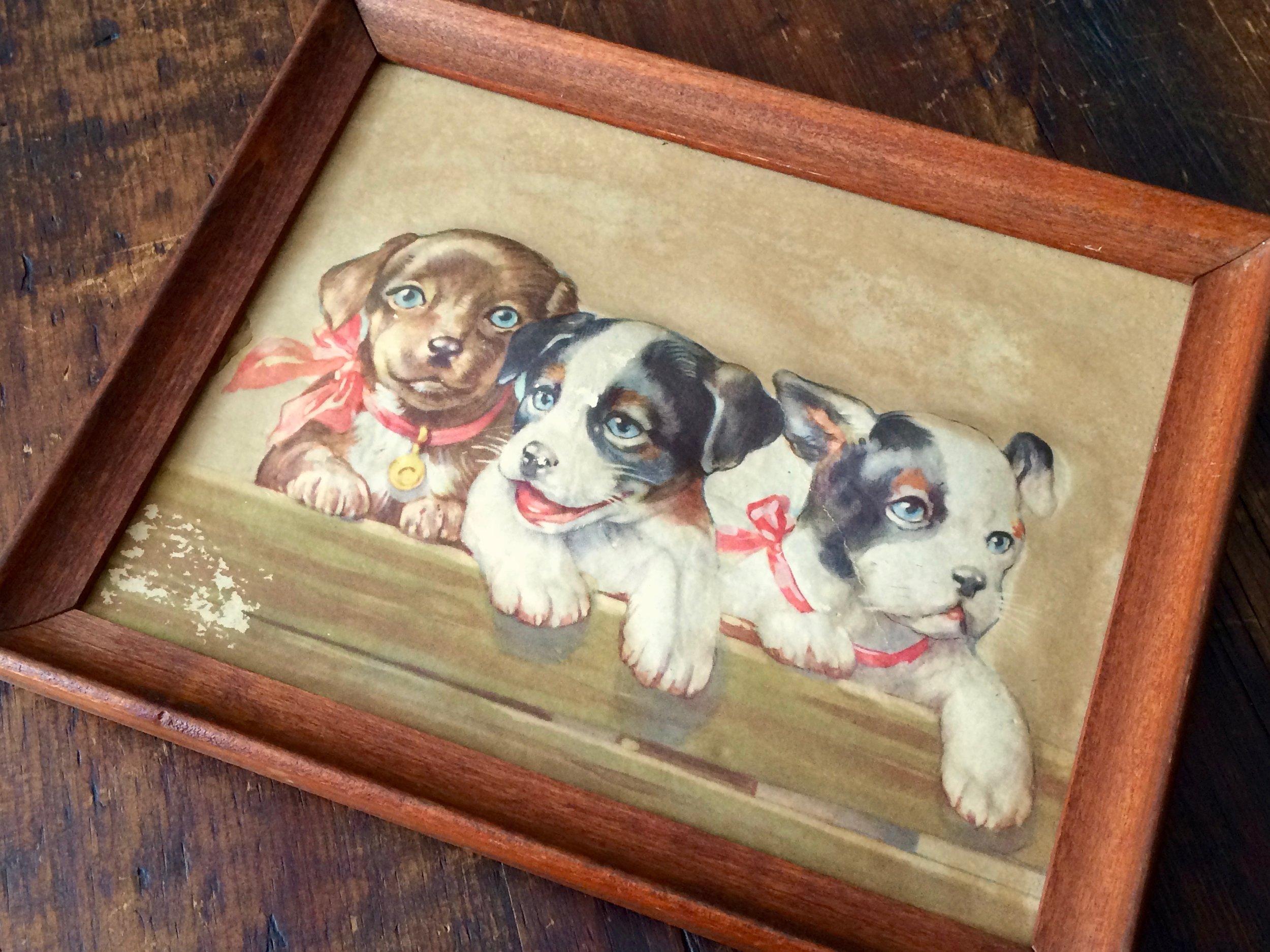 Puppies Embossed Print